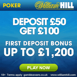 William Hill Poker Promo Code for £1250 Cash Back