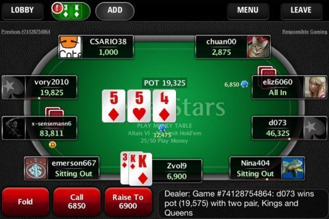pokerstars mobile home games