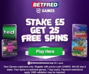 Betfred Games Promo Code for 25 Free Spins